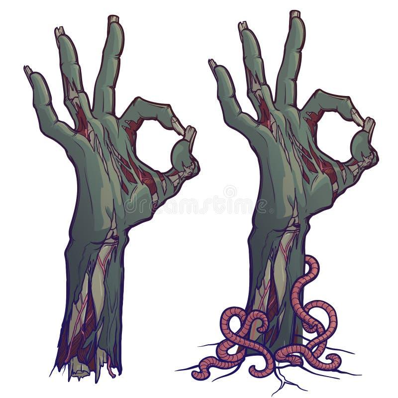 Langage du corps de zombi Approuvez le signe description réaliste de l'éclair de décomposition avec la peau en lambeaux, os saill illustration de vecteur