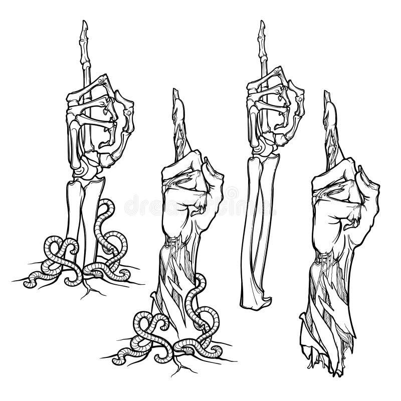 Langage du corps de zombi Dirigeant le doigt vers le haut illustration stock
