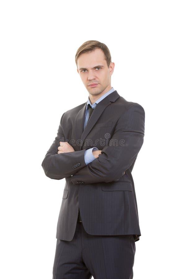 Langage du corps homme dans le blanc d'isolement par costume photo stock