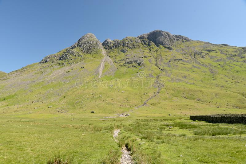 Langdale Pikes at head of Mickleden valley, Lake District. Langdale Pikes above the head of Mickleden valley in the English Lake District stock image