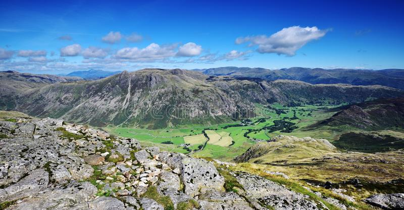 The Langdale Pikes. The green pasture of the Langdale valley stock photo