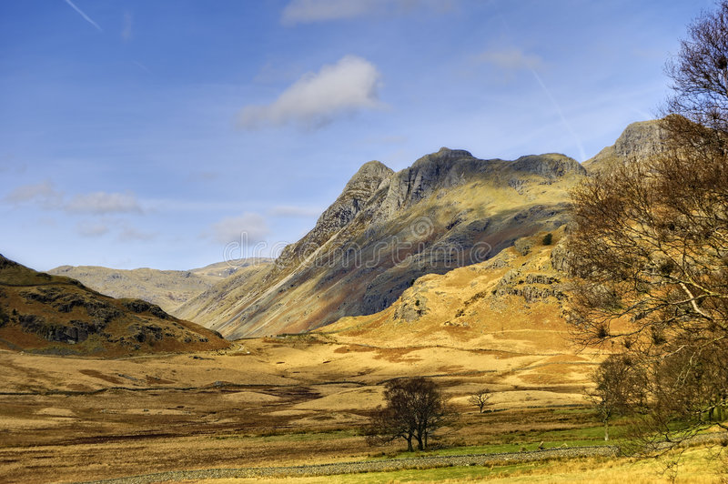 Langdale Pikes landscape. Scenic view of Langdale Pikes mountains, Great Langdale valley. Lake District National park, Cumbria, England royalty free stock photography