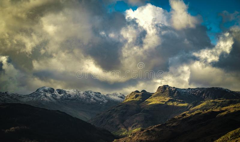 Langdale Pikes from Loughrigg Fell. In the English Lake District royalty free stock image