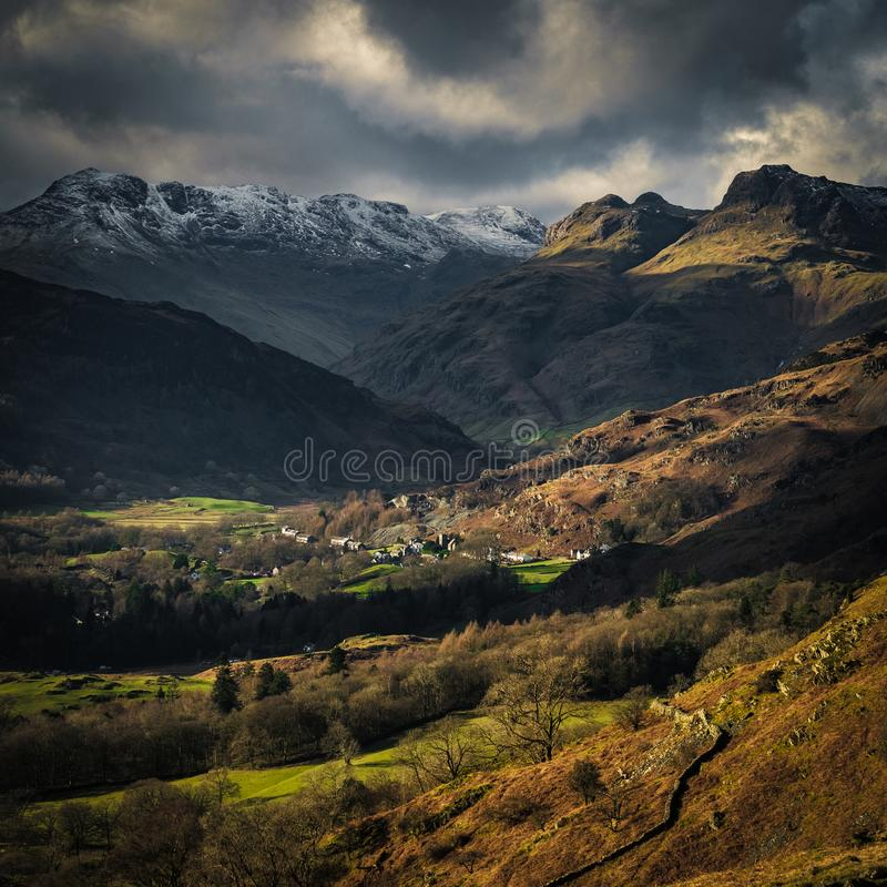 The Langdale Pikes from Loughrigg Fell. English Lake District stock image
