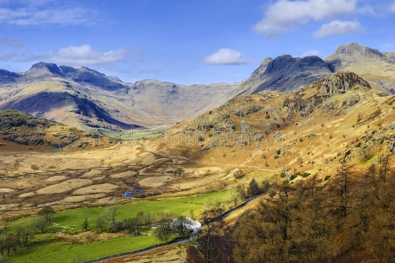 Langdale Valley. Aerial view of the head of the Langdale valley, a popular tourist area of the English Lake District National Park. The mountains in the distance royalty free stock photos