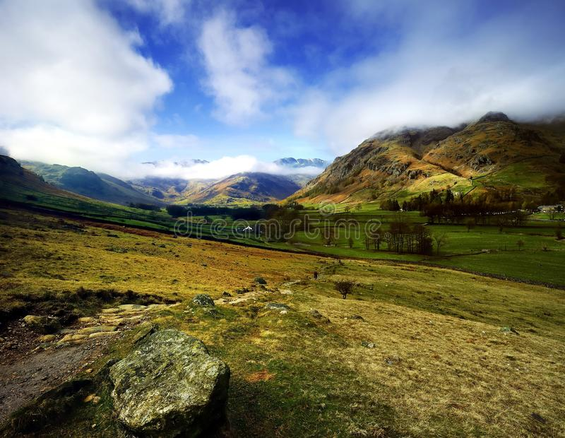 The Langdale Valley. Footpath down into the Valley stock photo