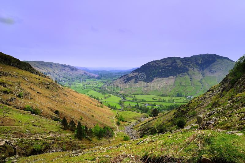 Langdale Valley. Green Langdale Valley from Stickle Gill stock photo