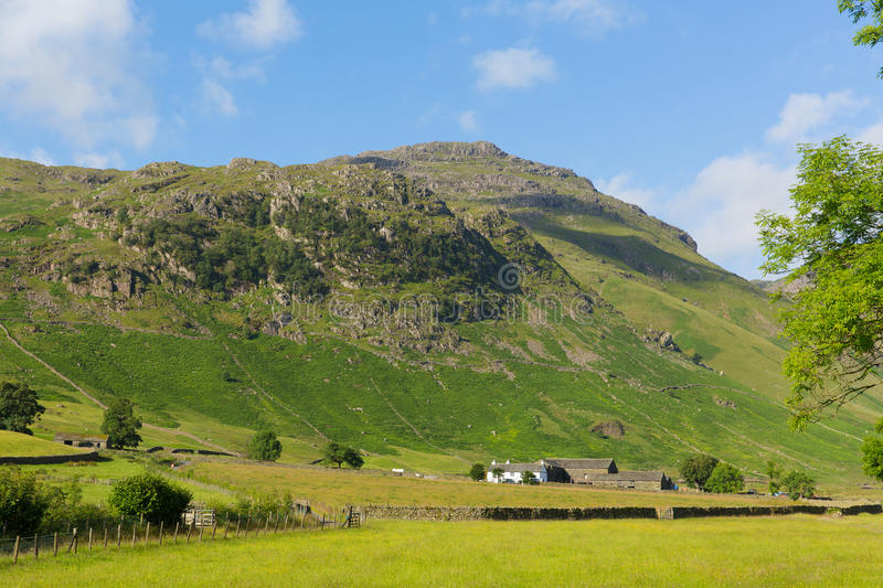 Langdale Valley Lake District Cumbria Pike of Blisco mountain near Old Dungeon Ghyll England UK in summer. Blue sky and clouds scenic royalty free stock photo
