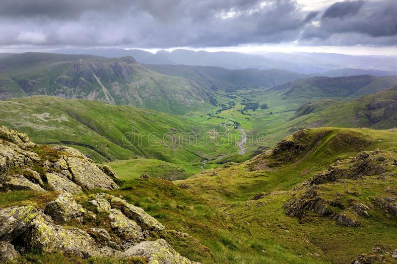 Langdale Valley. The Langdale Pikes and Valley royalty free stock image