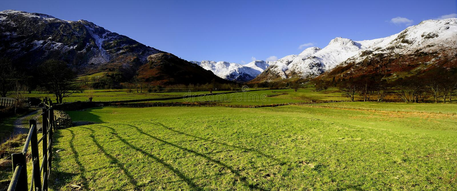 Langdale Valley. Snow Covered Langdale Fells and Valley stock image