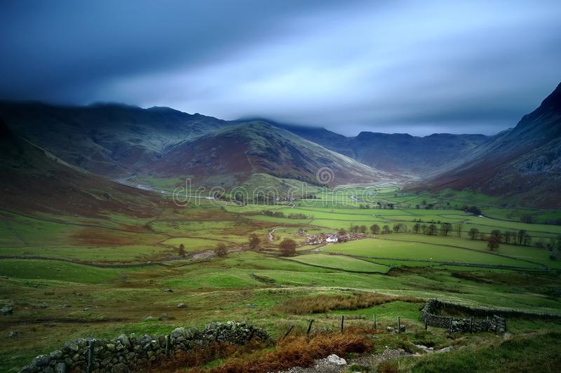 Langdale Valley. Storm clouds over the Langdale Valley royalty free stock photography