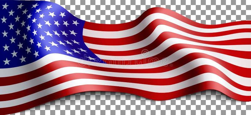 Lange amerikanische Flagge lizenzfreie abbildung