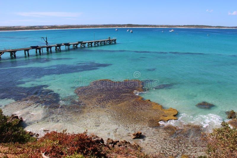 Lange Anlegestelle an Vivonne-Bucht, Süd-Australien stockbild