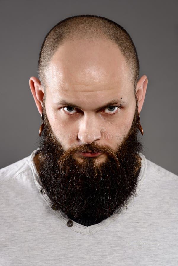 Lange baard en snor hipster stock foto
