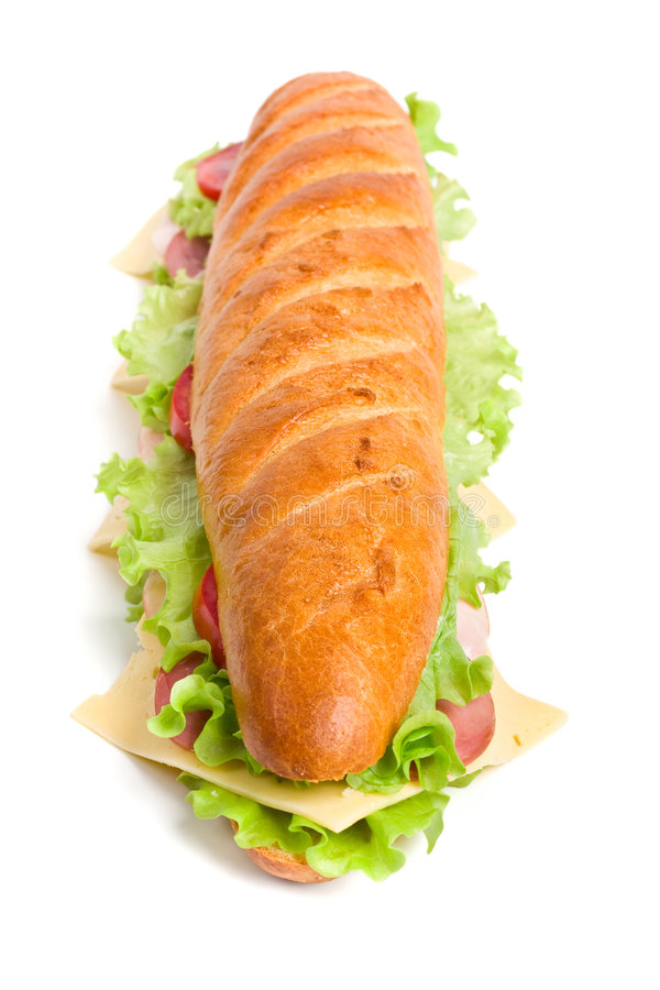 Lange baguettesandwich royalty-vrije stock afbeeldingen