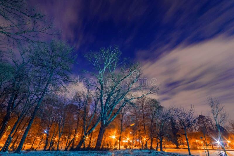 Lange Belichtung der Nachtaufnahme mit einigen Wolken und etwas Sterne und tre stockbilder