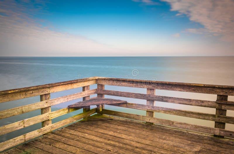 Lange Belichtung ein Pier und Chesapeake Bay im Chesapeake setzen auf den Strand, lizenzfreie stockbilder