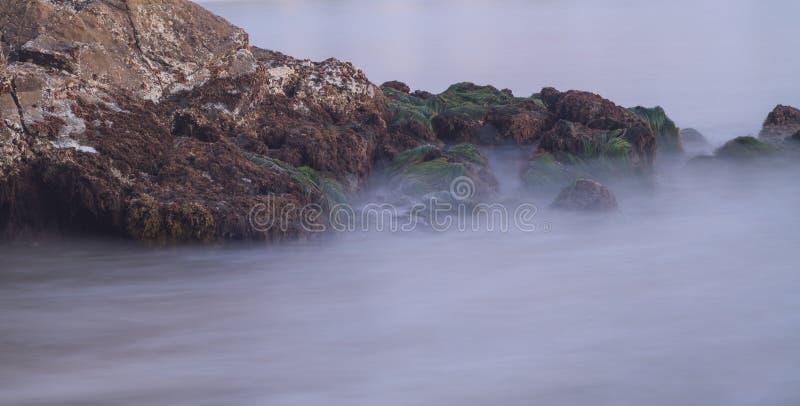 Lange Belichtung von Felsen und von Meerespflanzenmoos in den Wellen lizenzfreie stockbilder