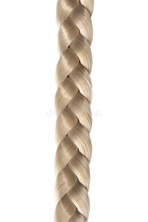 Lange blonde haarvlecht stock afbeeldingen