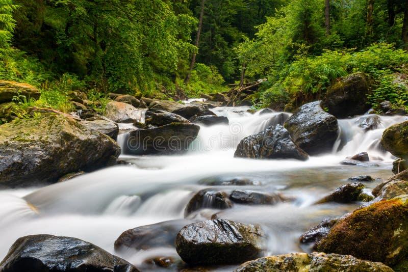 Lange blootstelling op rivier die door rotsen en de lente groen bos vloeien royalty-vrije stock fotografie