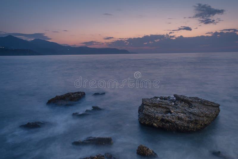Lange blootstelling van kustbeeld royalty-vrije stock afbeeldingen
