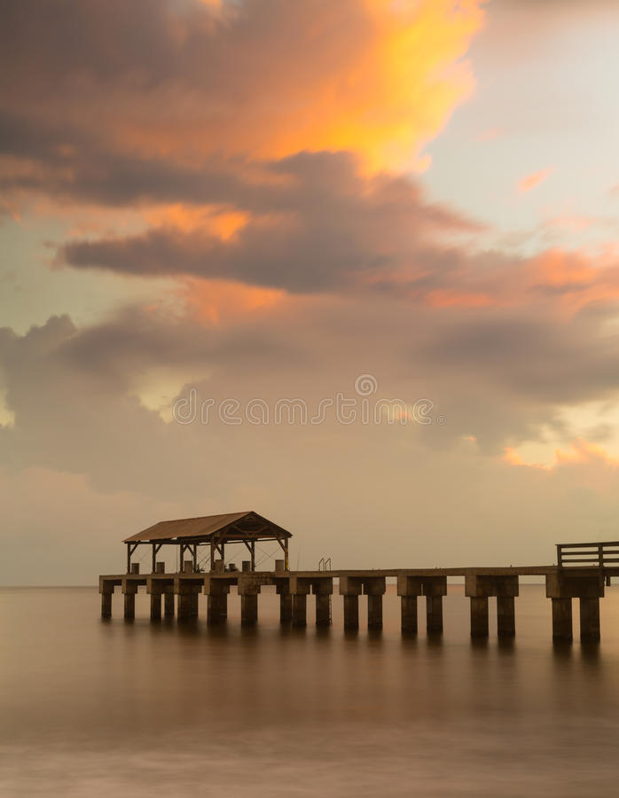 Lange blootstelling Waimea Pier Kauai royalty-vrije stock foto