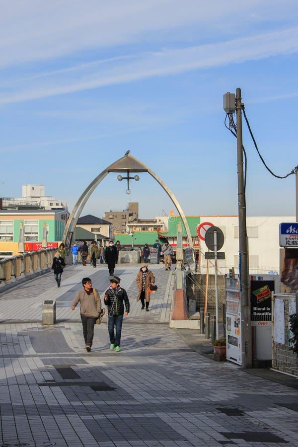 Lange brug aan Enoshima-eiland en toerist op het stock afbeelding