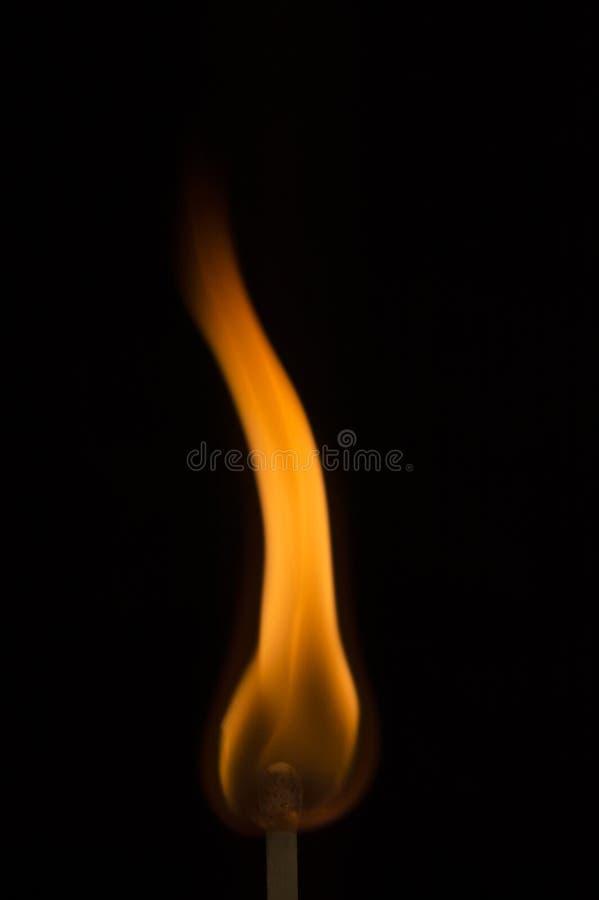 Lange buigende vlam op het uiteinde van een gelijke aangezien het aansteekt royalty-vrije stock foto's