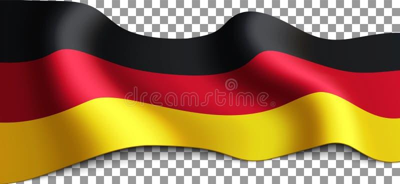 Lange deutsche Flagge des Vektors auf transparentem Hintergrund stockfotografie