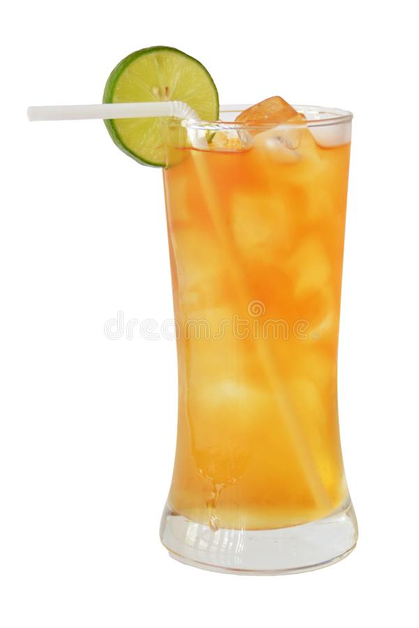 Lange eilandcocktails en alcohol op witte achtergrond stock foto