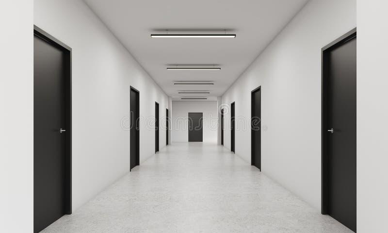 Lange gang met gesloten zwarte deuren vector illustratie