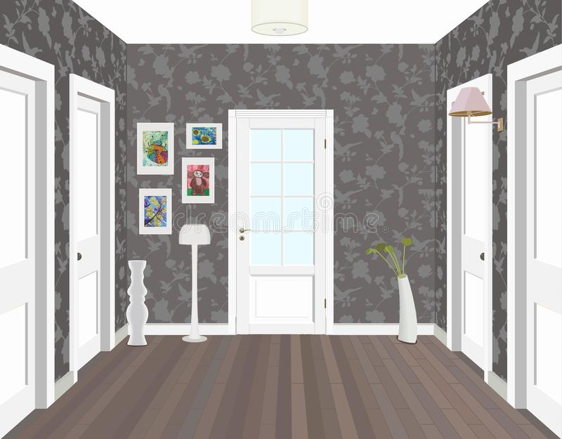 Lange gang met rijen van gesloten deuren Concept oneindige kansen voor succes en hardheid van keus 3d vector illustratie