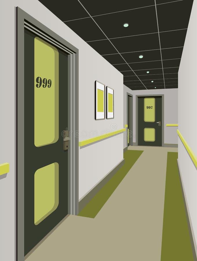 Lange gang met rijen van gesloten deuren Concept oneindige kansen voor succes en hardheid van keus 3d stock illustratie
