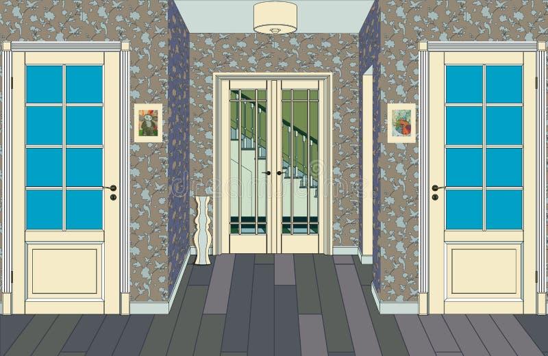 Lange gang met rijen van gesloten deuren Concept oneindige kansen voor succes en hardheid van keus het 3d teruggeven zaal royalty-vrije illustratie