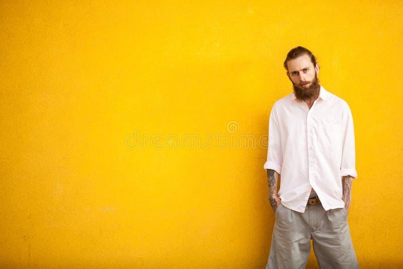 Lange gebaarde hipster op gele muur stock foto