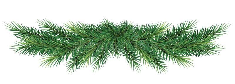 Lange Girlande von Weihnachtsbaumasten Realistischer Tannenbaum BO stockfoto