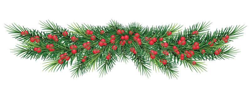 Lange Girlande von Weihnachtsbaumasten und von roten Beeren Reali stockbild