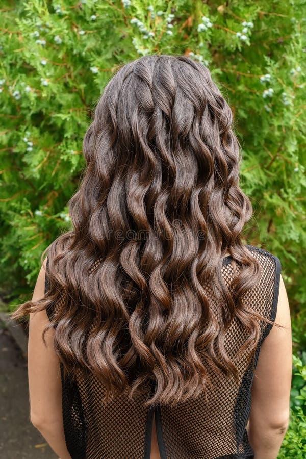 Lange glatte Rückseitenansicht des gelockten Haares stockbild