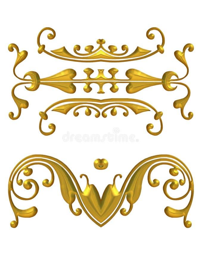 Lange Gouden Decoratieve Elementen stock illustratie