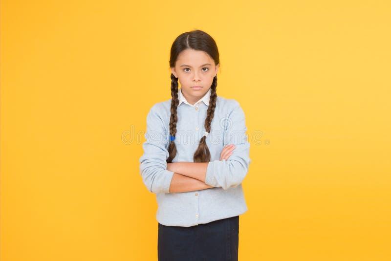 Lange haar van de schoolmeisje het kalme ernstige leerling Begin van academisch jaar Onderwijsactiviteit Homeschooling of het bez stock afbeeldingen