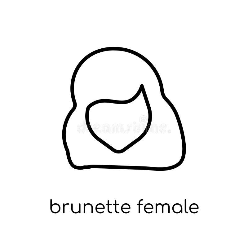 Lange Haarikone der Brunette weiblichen Frau Modische moderne Ebene linear stock abbildung
