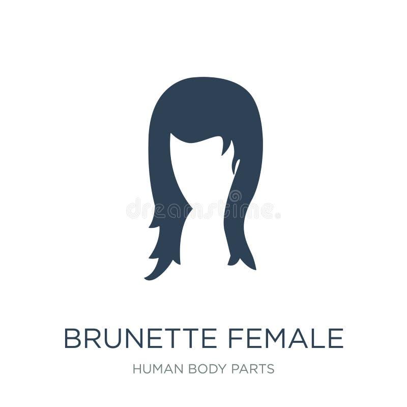 lange Haarikone der brunette weiblichen Frau in der modischen Entwurfsart lange Haarikone der brunette weiblichen Frau lokalisier stock abbildung