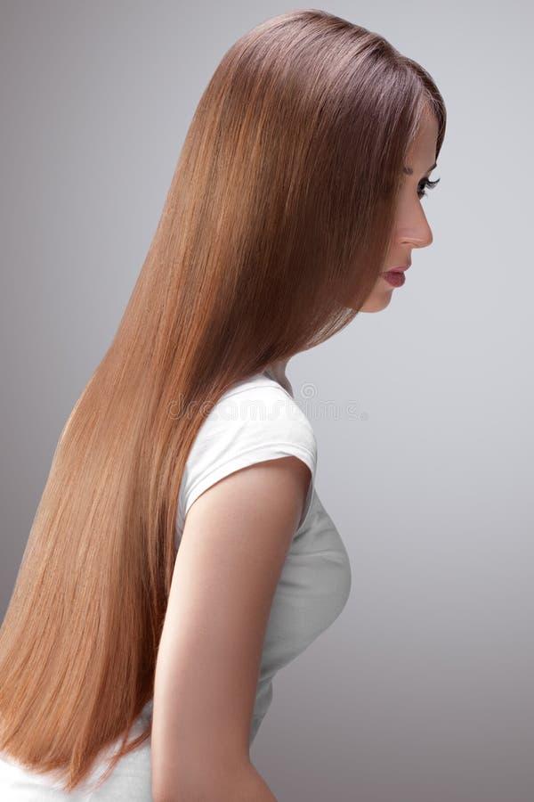 Lange Hair.Beautiful-Frau mit gesundem Brown-Haar. lizenzfreie stockfotografie