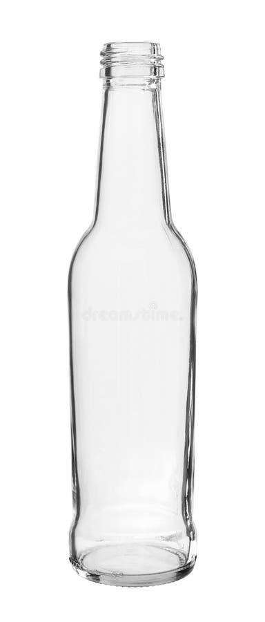 Lange Hals-Flasche verlegte den Mund, der auf weißem Hintergrund lokalisiert wurde lizenzfreies stockfoto