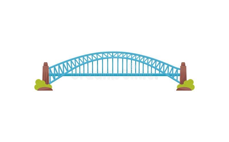Lange heldere blauwe metaalbrug Grote bouw voor vervoer Stadsvervoerinfrastructuur Vlak vectorontwerp stock illustratie