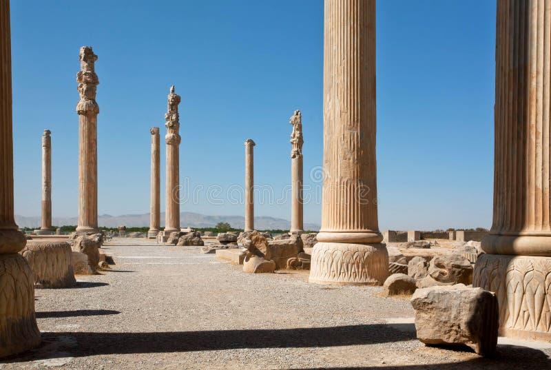 Lange kolommen op gebied van geruïneerde stad Persepolis stock foto