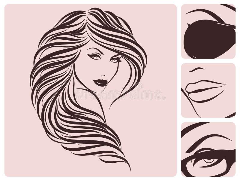 Lange lockige Frisur. lizenzfreie abbildung
