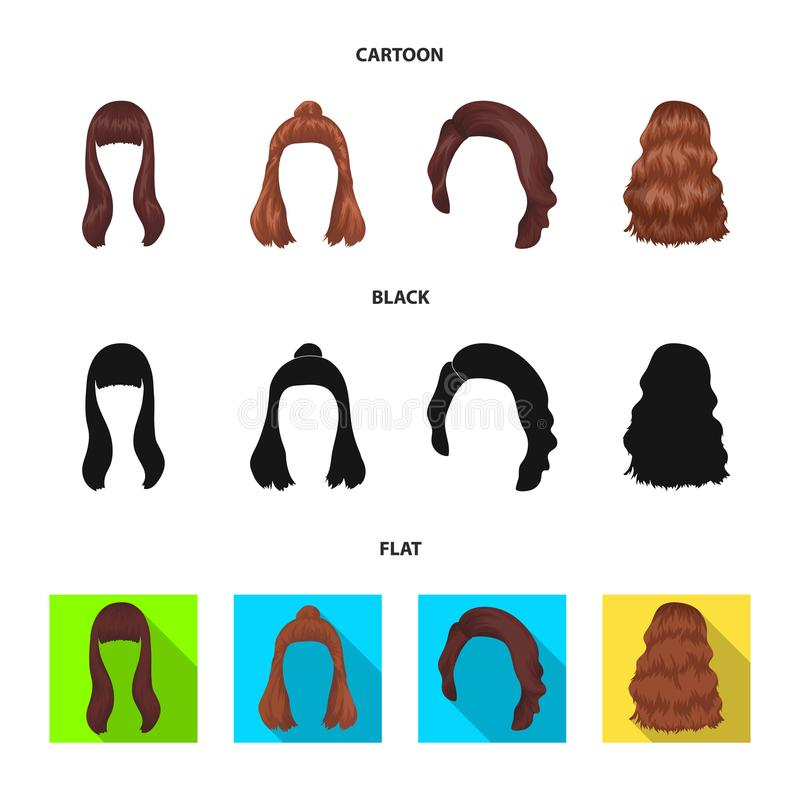 Lange, rode en andere types van kapsels De achterpictogrammen van de kapsel vastgestelde inzameling in beeldverhaal, zwart, vlak  vector illustratie