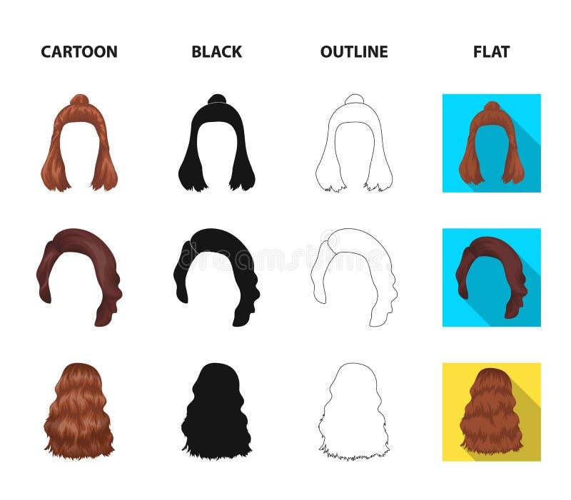 Lange, rode en andere types van kapsels De achterpictogrammen van de kapsel vastgestelde inzameling in beeldverhaal, zwarte, over vector illustratie