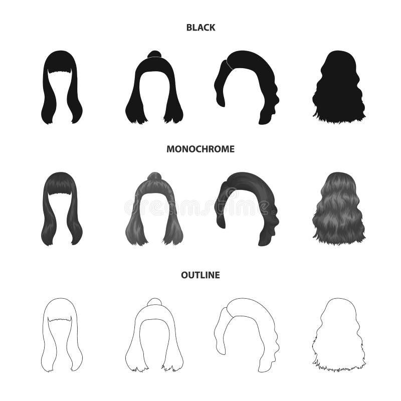 Lange, rode en andere types van kapsels De achterpictogrammen van de kapsel vastgestelde inzameling in de zwarte, zwart-wit, vect vector illustratie